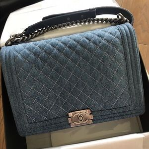 CHANEL Bags - Chanel Large Denim Boy Bag